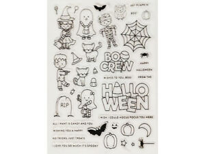Halloween Stamp Set, Cute Monsters and Animals, Includes Coordinating Dies