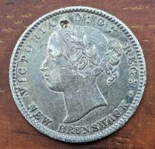 1864 AU Details New Brunswick Canada 10 Cent Silver Dime $1800 CAD Coin Lot F5