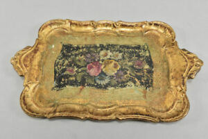 k67g33- Tablett aus Holz im Barockstil, wohl Italien