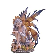 6 Inch Fairy with Gray Hair and Flowers Mushroom Statue Figurine Figure