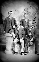 ANTIQUE 8 x 5  GLASS PHOTO NEGATIVE - 1860-1890 - THE MALE SIDE OF THE FAMILY