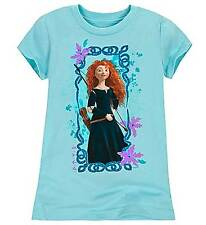Disney Store Pixar Brave Merida Organic Blue T-Shirt for Girls Size 2/3 Glitter