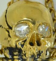 Important historic Victorian poison Skull bottle.18k gild silver&0.6ct Diamonds
