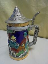 Vintage Marked Germany Cobalt Heidelburg Schloss Pewter Lidded Beer Stein 6.75""