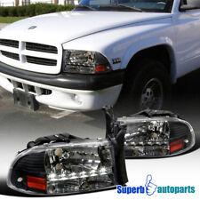 1997-2004 Dodge Dakota LED Crystal Headlights Head Lamps Black