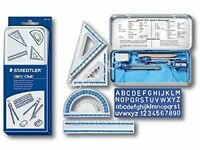 Staedtler Mathematical Instruments Geometry Ruler Protactor Compass Stencil Set