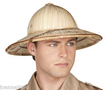 Safari Selva Explorer Fancy Dress Accesorio africano Ejército Sombrero de Paja casco de la médula