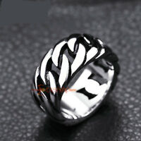 316L Stainless Steel Cuban Linked 9mm Band Ring Silver Men's Women's Size 7-14