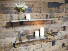 2 x Industrial Vintage Floating Storage Display Wooden Wall Shelves & Brackets