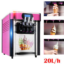 PINK! Ice Cream Cones Machine Soft Serve Ice Cream Frozen Yogurt Maker 3 Flavors