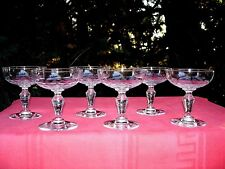 SÈVRES CLICHY BACCARAT TALL SHERBET GLASSES COUPES A CHAMPAGNE CRISTAL TAILLÉ AA