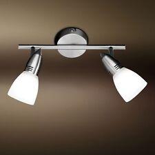 WOFI Plafonnier NIXON à 2 LAMPES NICKEL VERRE BLANC spots réglable 66 Watt lampe