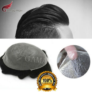 GM Complet Poly Ultra Mince Peau Invisible PU Perruque Hommes Toupet Humain Hair