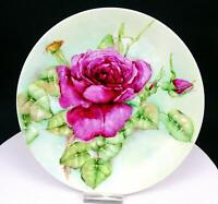 "W.G. & CO. WILLIAM GUERIN LIMOGES FRANCE RED ROSE 9 1/4"" PLATE 1900-1932"