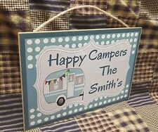 "Personalized Happy Campers Sign 10.5""x7"" CUSTOM Camping RV TT Trailer Plaque"