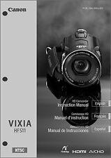 Canon VIXIA HF S11 Camcorder User Instruction Guide  Manual