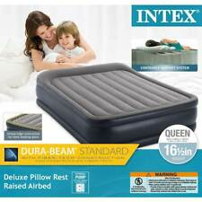 Intex Deluxe Pillow Rest Raised Air Bed Mattress w/ Built In Pump, Queen (Used)