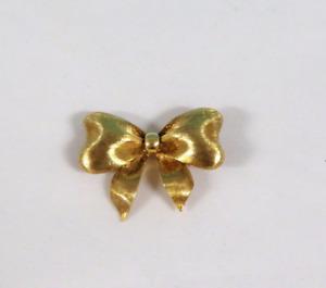 Tiffany & Co Rare 18K 750 Bow Yellow Gold Brooch Pin Vintage Satin Finish Sale