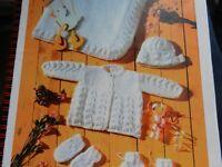 "Knitting Pattern Baby Girl Boy Cardigan Bonnet Bootees Mittens Shawl DK 12-20"""