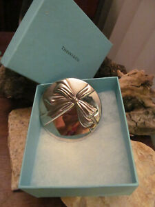 Vintage Tiffany & Co. Bow Silver Plate Compact Hand Purse Makeup Mirror