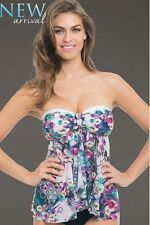 PROFILE BY GOTTEX FUJI BANDEAU FLY AWAY TANKINI SIZE: 8  NWT $98