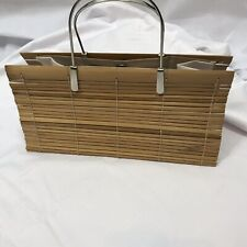 Rockabilly Bamboo Boho Lined Bag Sliver Metal Handles Quirky Fun