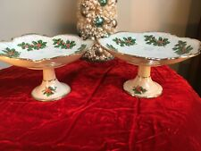 Vintage Ucago Porcelain Christmas Lusterware Candy Compote Holly & Berries Japan