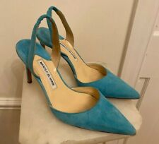 Manolo Blahnik Slingback Toquoise Teal Suede High Heals - Size 38