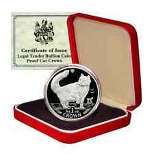 Isle of Man Norwegian Forest Cat 1 Crown 1991 1 Oz Proof .999 Silver Box & Coa