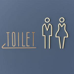 Women Men Toilet Brass Door Signs Wall Stickers Hotel Bathroom Plaque Decor