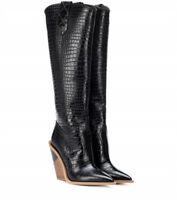 Occident Women's Real Leather Pointed Toe Pull On Block Heel Knee Long Boots N89