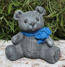 Steinfigur Bär Teddy  Deko Garten Waschbären anthrazit