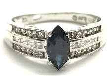 Sterling Silver Marquise Blue Sapphire CZ Pave Petite Elegant Cocktail Band Ring