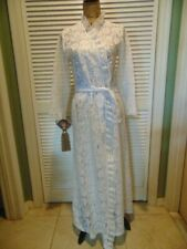 Vintage 60's Beach Things Miami Pool Cover Up Robe White Ruffle Lace Long Glam