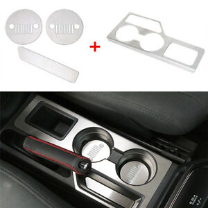 4Pcs Stainless Steel Car Cup Mat Cup Holder Panel For Jeep Patriot Compass 11-16