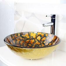 Orange Stone Pattern Tempered Glass Round Bathroom Vanity Vessel Sink Wash Basin