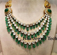 Handmade Natural Diamond Polki & Emerald 18k Gold & 925 Sterling Silver Necklace