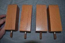 4 anciens pieds fuseau de meuble en hêtre (150mm)
