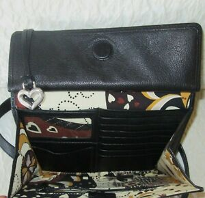 brighton  black leather crossbody organizer bag wallet purse