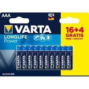 16+4 Piles Alcalines AAA / LR03 Varta LongLife Power