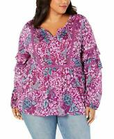 NWT Style&Co Women's Purple Floral-Print Tiered-Sleeve Peasant Top Plus Size 1X