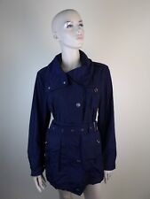 NWT BURBERRY BRIT BLUE POLYESTER RAIN BELTED JACKET TRENCH HOOD COAT US 14 UK 16