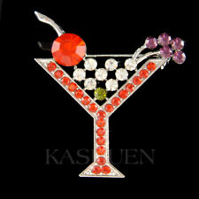 Martini Cocktail Glass made with Swarovski Crystal French Raspberry Olive Brooch