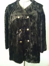 Vintage 60's womens coat brown faux fur double breast flap back collar size M L