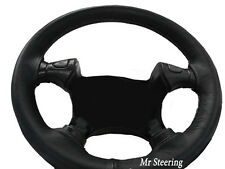 BLACK LEATHER STEERING WHEEL COVER FOR VAUXHALL FRONTERA A 91-98 GREY STITCHING