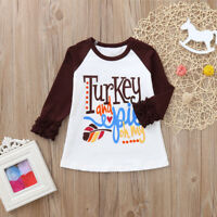 Toddler Kid Baby Girl Boy Letter Turkey Ruffle Tops T-Shirt Thanksgiving Clothes