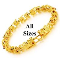 "18k Yellow Gold Women Girl Link Chain Dragon Bracelet 5"" 6"" 6.5"" 7"" 7.5"" 8"" D731"