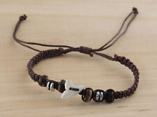 Bracelet brazilian tooth of shark real and pearls wood thread brown - BB 992