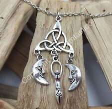 TRIQUETRA Style MOON GODDESS Charm Necklace Pendant - UK Stock