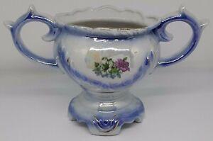 Vintage Small Ceramic Glazed Vase - Blue White with Flower design - two handles